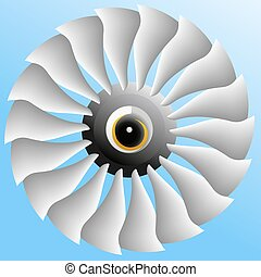 Fan of a modern turbofan aircraft engine.