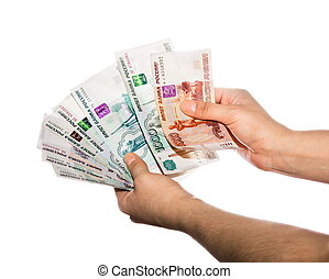 Fan of banknotes in the hands