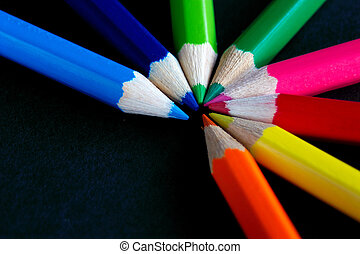 fan of colour - semi circle of coloured crayons