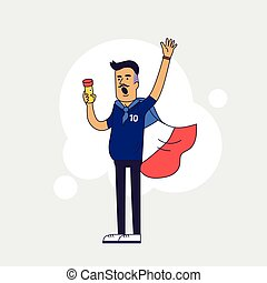 Fan of France national football team, sports. Character with flag in the national colors. Flat line style design.