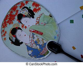 Fan postcard - A fan postcard with geisha's image