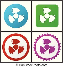 Fan red, blue, green and pink vector icon set. Web icons. Flat design signs and symbols easy to edit