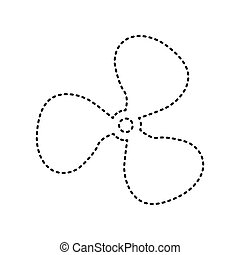 Fan sign. Vector. Black dashed icon on white background. Isolated.