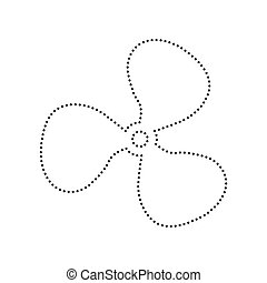 Fan sign. Vector. Black dotted icon on white background. Isolated.