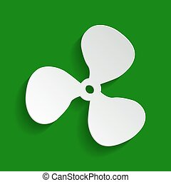 Fan sign. Vector. Paper whitish icon with soft shadow on green background.