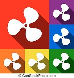 Fan sign. Vector. Set of icons with flat shadows at red, orange, yellow, green, blue and violet background.