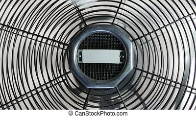old style fan,  stopping metal blades
