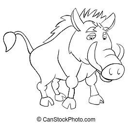 wild boar - Fan wild boar. Outline drawing