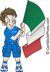 Fan with flag of Italy