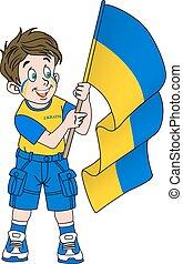 Fan with flag of Ukraine