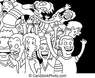 Fanatical Fans - Cartoon of people screaming and shouting...