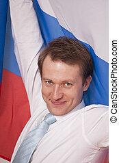 fanaticus, man, met, russische vlag