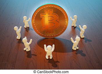 fanatiques, -, bitcoin, illustration, 3d