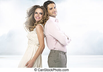 Fanatstic picture of attractive smiling couple