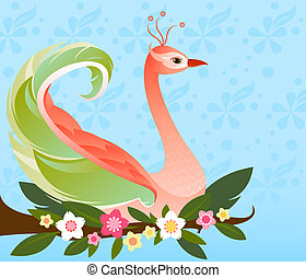 Beautiful fantasy bird with colorful plumage, perched on a flowered branch - with a subtle flower patterned background