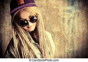 fanciful style - Modern teenage girl with blonde dreadlocks...
