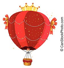 Fancy balloon flying on white background