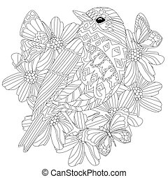fancy bird in flowers for your coloring book