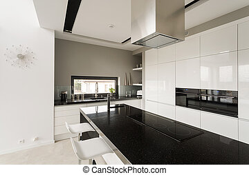 Fancy black and white kitchen - Image of fancy black and...