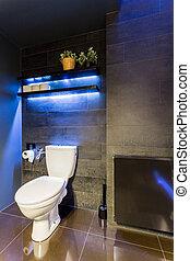 Fancy black bathroom idea - Black bathroom interior with...