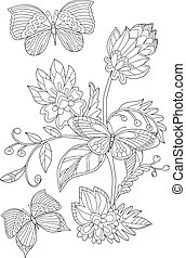 fancy blossom tree with butterflies for your coloring book