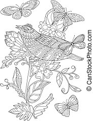 fancy blossom tree with pretty bird for your coloring book