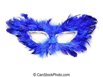 Fancy blue mask with feathers on white background