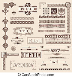 Fancy border elements for menus and invitations