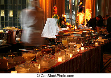 Fancy Buffet Line with Chef Ready to Serve