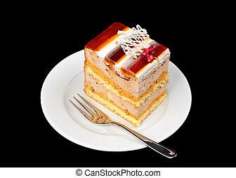 fancy cake with jelly on top - piece of fancy fancy cake...