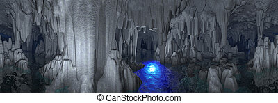 Fancy cave - Fancy gothic-like cave with arches and column ...