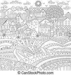 fancy cityscape for your coloring book