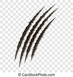 Fancy claws scratches - vector isolated. Talons cuts animal cat, dog, tiger, lion,