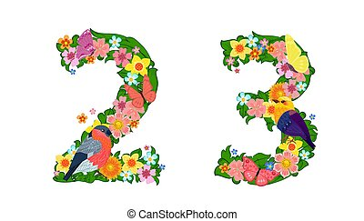 fancy collection of colorful numbers 2, 3 with butterflies and birds for your design