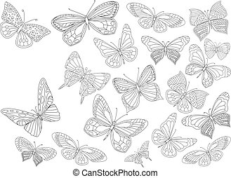 fancy collection of flying butterflies for your coloring page