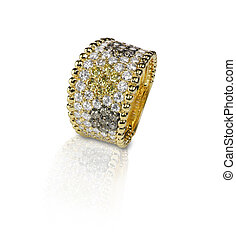 Fancy Colored diamond Pave ring with yellow brown and white stones. Isolated on white with a reflection