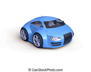 Fancy Coupe Front View - Little Blue Tiny Isolated Concept...