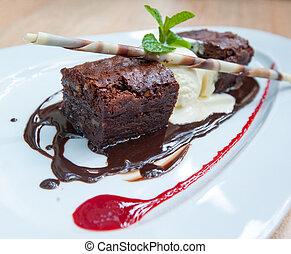 fancy dessert, chocolate brownie and ice cream