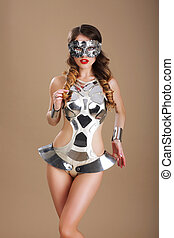 Fancy Dress Party. Woman in Futuristic Glasses and Creative Metallic Costume