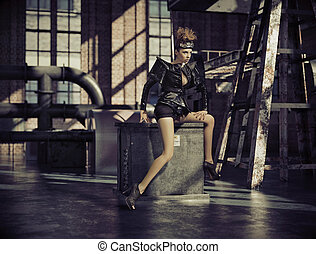 Fancy dressed woman in empty factory