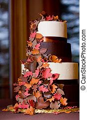 Fancy fall themed wedding cake - A Fancy fall themed wedding...