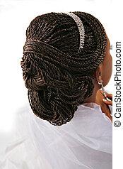 African American Female Fancy Hair Braid Closeup