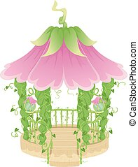Colorful Illustration of a Fancy Gazebo Shaped Like a Dainty Flower Supported by Vines