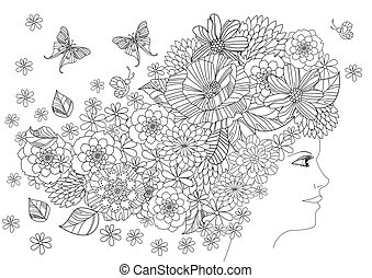 fancy girl with butterflies and flowers in hair for your coloring book