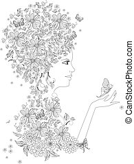 fancy girl with butterflies for your coloring book