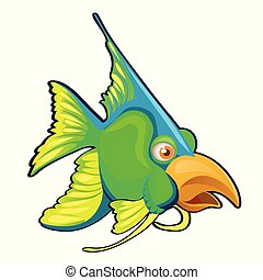 Fancy green fish with bird beak isolated on a white background. Cartoon vector close-up illustration.