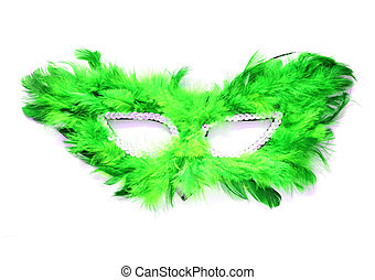 Fancy green mask with feathers on white background