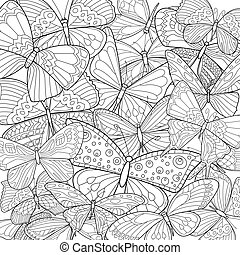 fancy group of butterflies for your coloring page