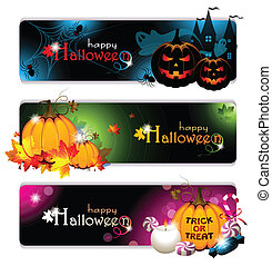 Fancy Halloween Banners - Vector illustration of three...