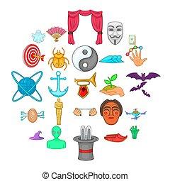 Fancy icons set, cartoon style